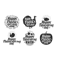 happy thanksgiving label set holiday icons or vector image
