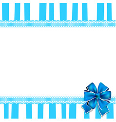 holiday greeting card with blue bow on blue and vector image