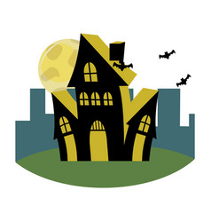Horror castle with bats and full moon in the vector