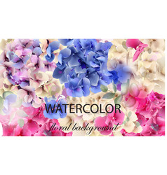 hydrangeas watercolor floral background vector image