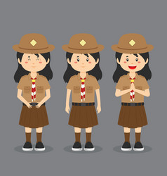 Indonesian pramuka character with expression vector
