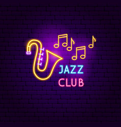 jazz club neon sign vector image