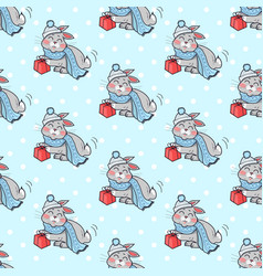 little rabbit with present box seamless pattern vector image