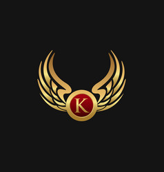 Luxury letter k emblem wings logo design concept vector