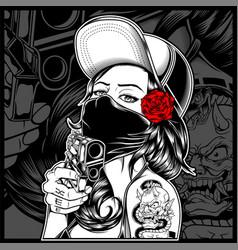 Mafia woman holding a gun vector