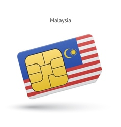 Malaysia mobile phone sim card with flag vector