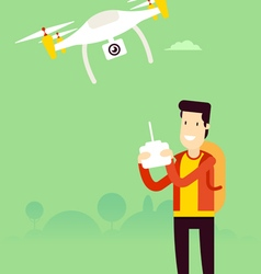Man with copter vector
