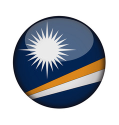 marshall islands flag in glossy round button of vector image