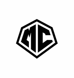 Mc monogram logo with hexagon shape and line vector