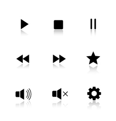 Media player drop shadow buttons set vector image