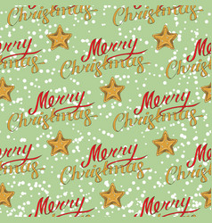 merry christmas seamless pattern with stars vector image