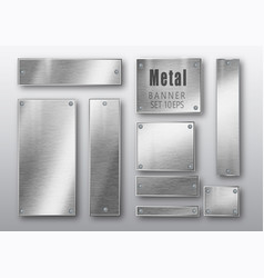 metal banners set realistic brushed vector image
