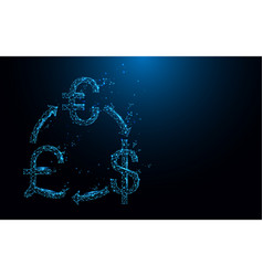 money exchange icon from lines and particle vector image