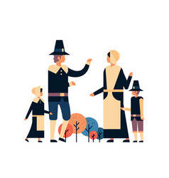 native american family thanksgiving day vector image