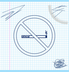 no smoking line sketch icon isolated on white vector image