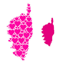 Pink love heart collage map corsica vector