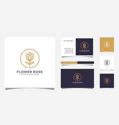 rose flower logo design and business card design vector image