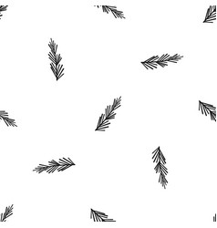 Rosemary spice pattern seamless black vector
