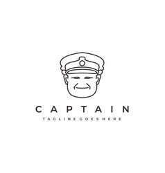 sailor line art ship captain logo design vector image