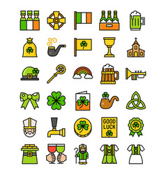 Saint patricks day related icon set filled style vector