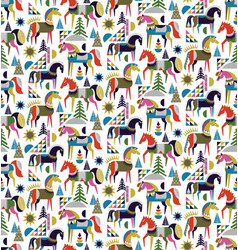 Scandinavian horses pattern seamless design vector