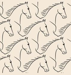 seamless pattern black horses beige background vector image
