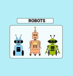 set cute robots cartoon robotic character vector image