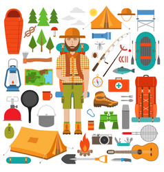 set hike and camp equipment in flat vector image