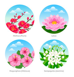 set of exotic flowers vector image