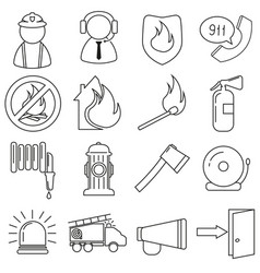 set of icons in line style firefighter vector image