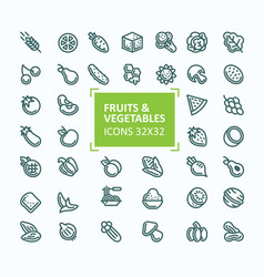 Set of icons of fruits and vegetables in vector