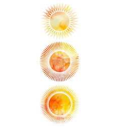set of icons of suns with different rays and vector image