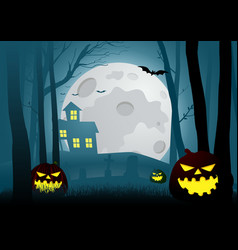 Silhouette a house in dark scary woods vector