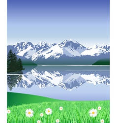 Snow Covered Mountains in spring vector