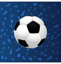 Soccer ball on blue gradient background vector