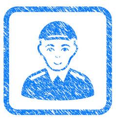 soldier framed stamp vector image