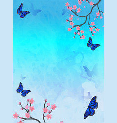 spring card with sakura and butterfly vector image