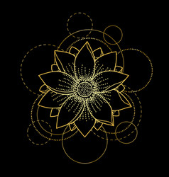 Tattoo with lotus and circles on black background vector