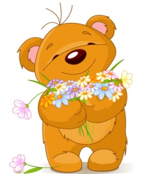 teddy bear giving a bouquet vector image