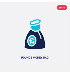 Two color pounds money bag icon from business vector