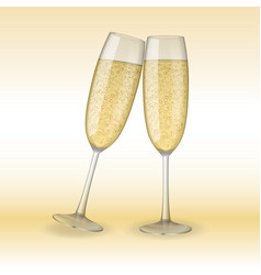 two glasses of champagne holiday merry christmas vector image