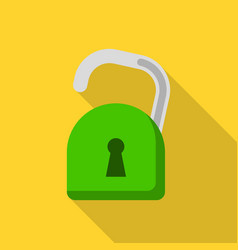 unlock computer security icon flat style vector image