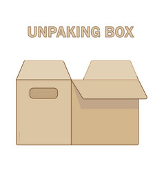 Unpacking box icon flat style vector