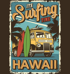 Vintage colorful surfing poster vector
