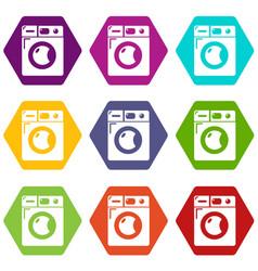 Washing machine icons set 9 vector
