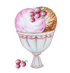 Watercolor ice cream vector image
