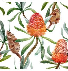 Watercolor tropical australian pattern vector