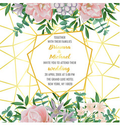wedding invitation with geometric frame flowers vector image