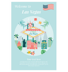 welcome to las vegas poster with landmarks vector image vector image