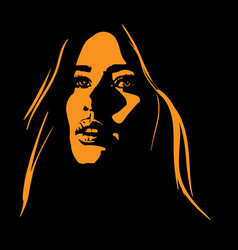 Woman face in contrast light vector